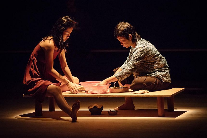 Actresses Tan Hui Er (left) and Jalyn Han (right) in the theatre production In The Silence Of Your Heart.