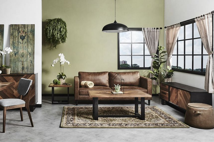 The Bowen sofa set uses an easy-to-clean fabric that looks and feels like leather.