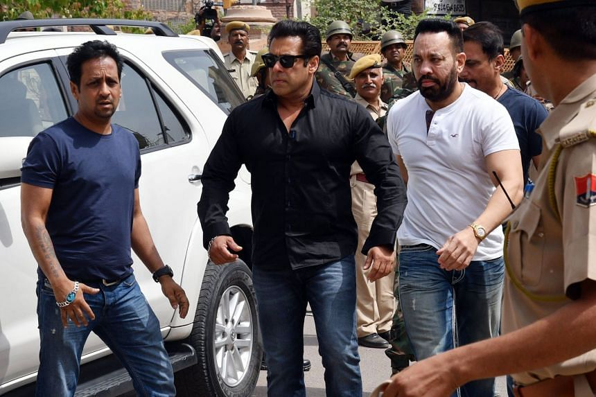 High-profile Bollywood actor Salman Khan (centre) outside the Jodhpur court in Rajasthan, on April 5, 2018.