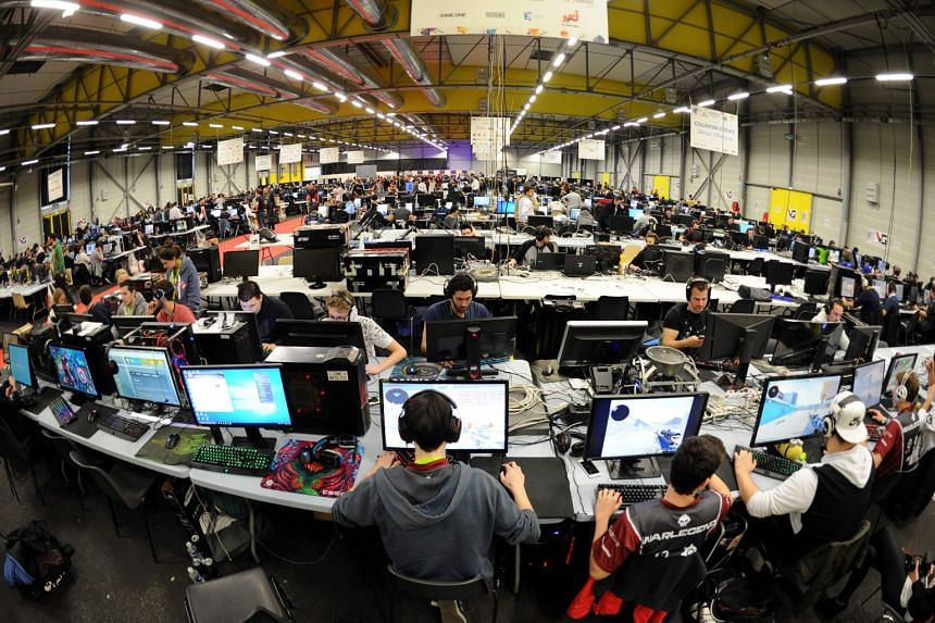 Gamers take part in the Gamers Assembly in Poitiers, France, on April 15, 2017.