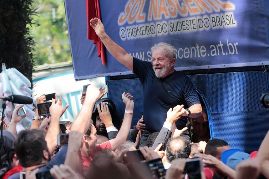 Lula being carried by supporters in Sao Bernardo do Campo, Brazilm on April 7, 2018.