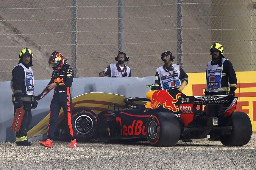 Red Bull's Max Verstappen walks away after crashing out in the first round of qualifying at the Bahrain Grand Prix yesterday.