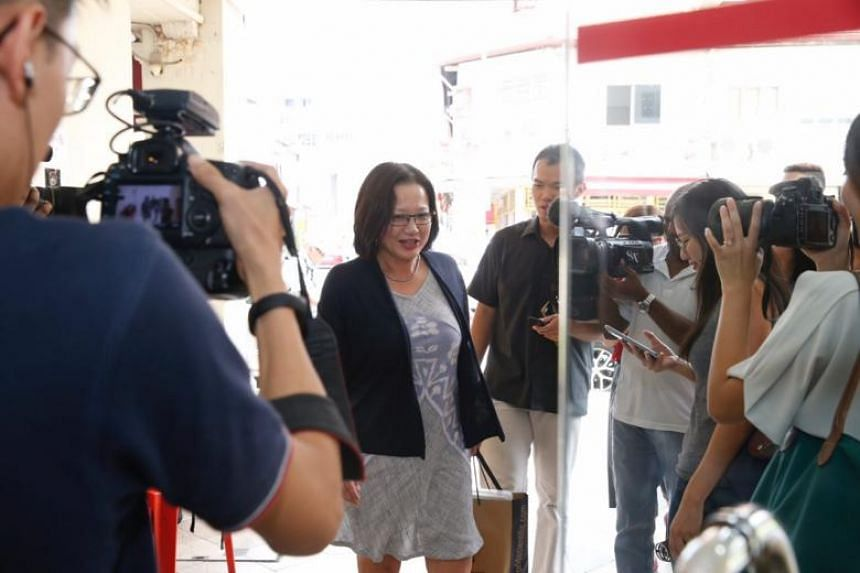 WP chairman Sylvia Lim arriving at the Workers' Party headquarters on April 8, 2018.