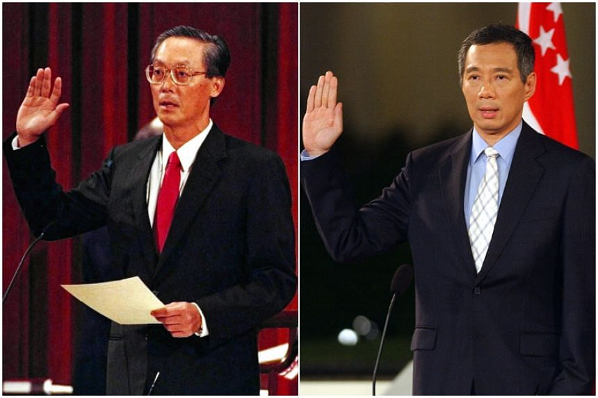 Mr Goh Chok Tong (left) being sworn in as Singapore's second prime minister in 1990. Mr Lee Hsien Loong (right) being sworn in as Singapore's third prime minister in an outdoor ceremony at the Istana on Aug 12, 2004.