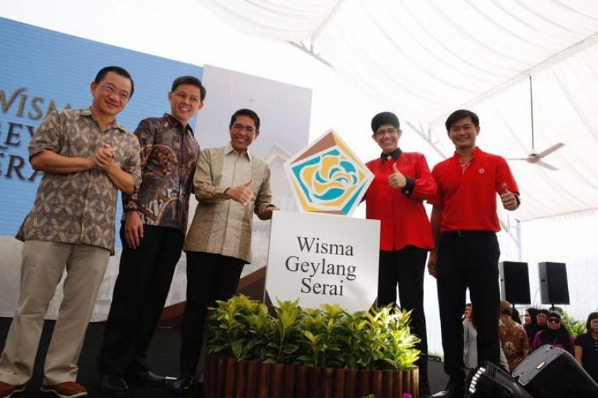 (From left) Adviser to Marine Parade GRC Seah Kian Peng, Minister in Prime Minister's Office Chan Chun Sing, Senior Minister of State for Defence Maliki Osman, Associate Professor Fatimah Lateef and head of People's Association Desmond Tan at the