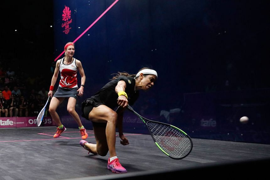 Malaysia's Nicol David plays a shot during the women's singles quarter-final squash match against England's Alison Waters during the 2018 Gold Coast Commonwealth Games at the Oxenford Studios on April 7, 2018.