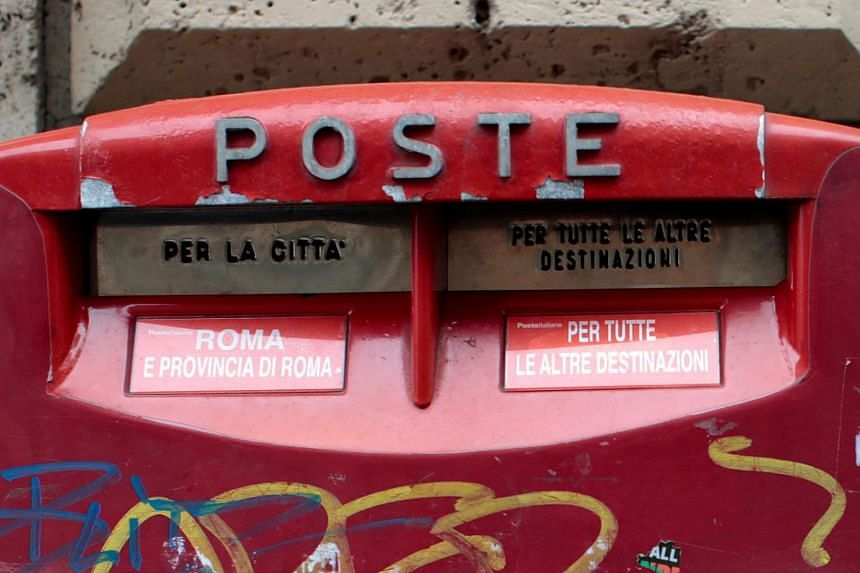 File photo showing a letterbox outside a post office in Rome, Italy.