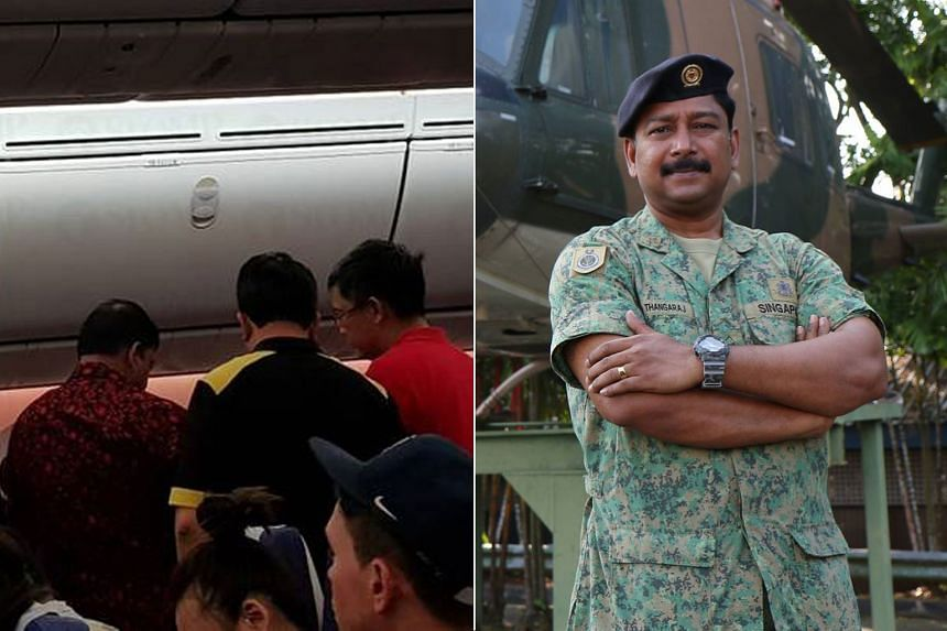 Military Expert 3 Thangaraj R. Krishnasamy was on his flight home after a holiday when he rendered assistance to a child who was experiencing breathing problems.