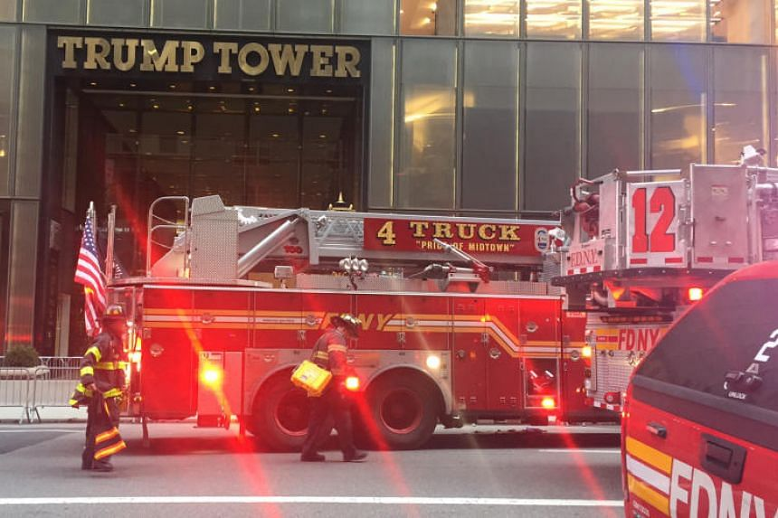 Fire trucks arriving outside Trump Tower on 5th Avenue in New York on April 7, 2018