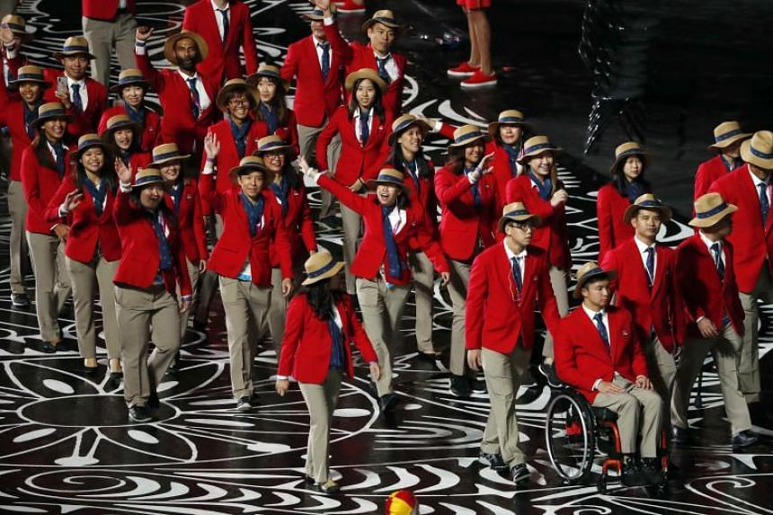 Team Singapore during the opening ceremony of the 2018 Commonwealth Games in Gold Coast.
