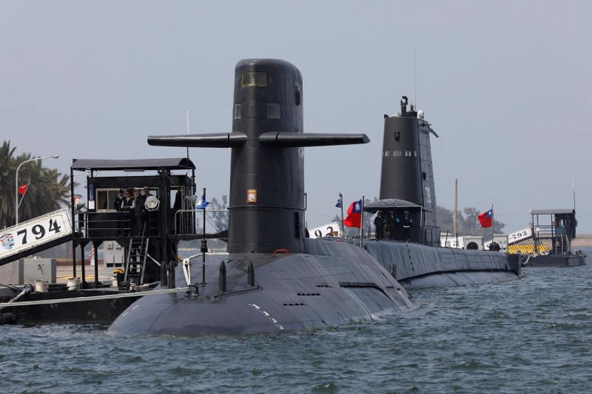 File photo showing submarines at a naval base in Kaohsiung, Taiwan, on March 21, 2017.