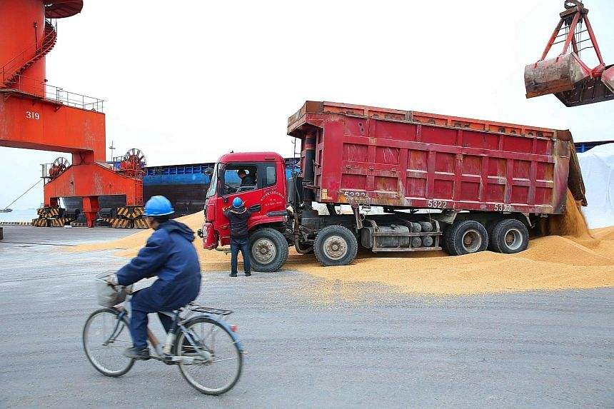Workers transporting imported soya beans at a port in Nantong in China's eastern Jiangsu province. China has imposed a 25 per cent import tariff on US soya beans.