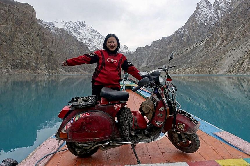 """Ms Huang and her Vespa, affectionately named """"Ebony Rouge"""", went to 25 countries during the two-year journey, including (anticlockwise from above) Armenia, Iran, Pakistan and India. She said that the hardest part of the trip was leaving everything be"""