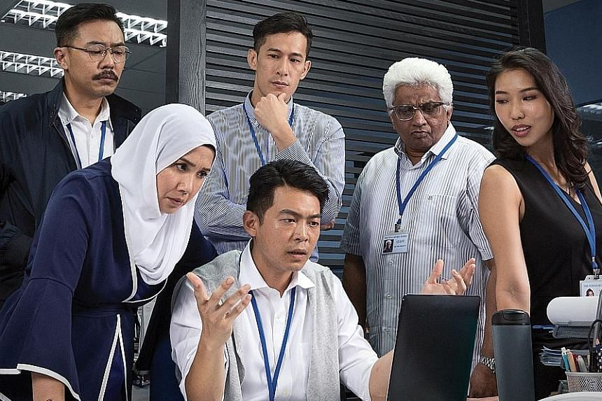 Press Gang, about a newsroom in crisis, stars (from left in back row) Rei Poh, Shane Mardjuki, T. Sasitharan and Amanda Tee and (front row) Oniatta Effendi and Benjamin Chow.