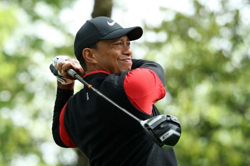 Tiger Woods of the US hits off the second tee during final round play of the 2018 Masters golf tournament at the Augusta National Golf Club in Augusta, Georgia, US on April 8, 2018.