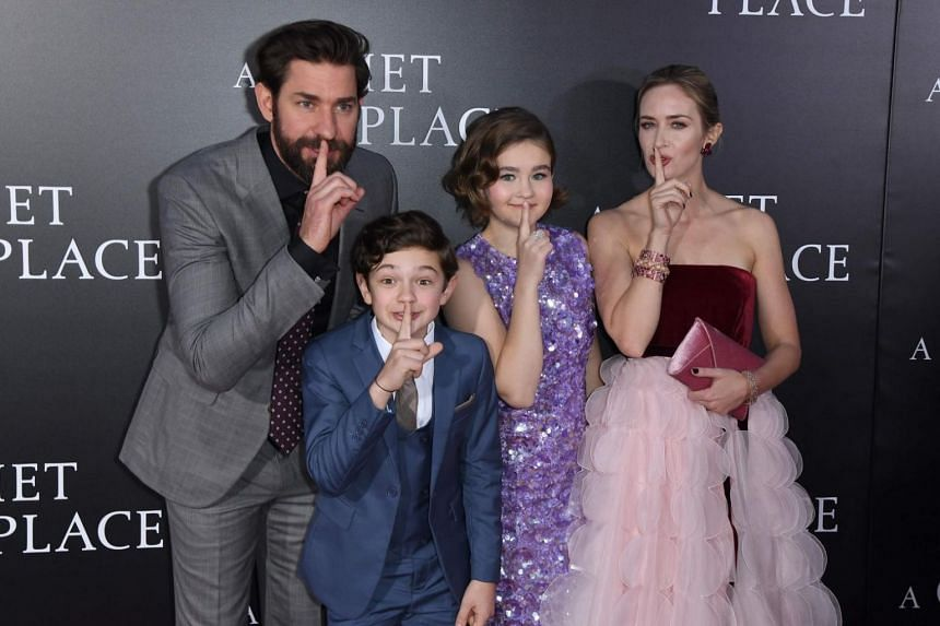From left to right: John Krasinski, Noah Jupe, Millicent Simmonds and Emily Blunt attending the Paramount Pictures premiere for A Quiet Place at AMC Lincoln Square Theater on April 2, 2018, in New York City