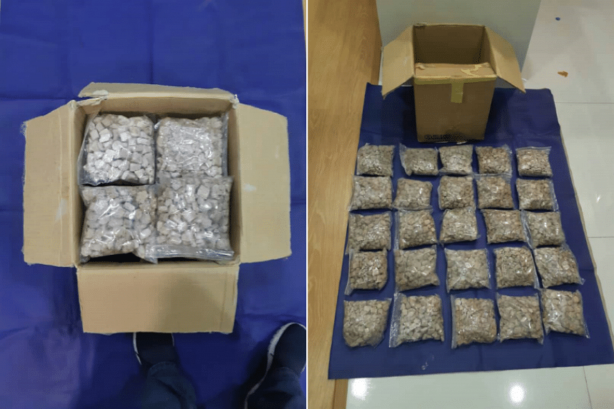 Heroin seized by NCID in Johor, on April 4, 2018. About 14kg of heroin was seized and 16 people arrested as a result of the investigations.