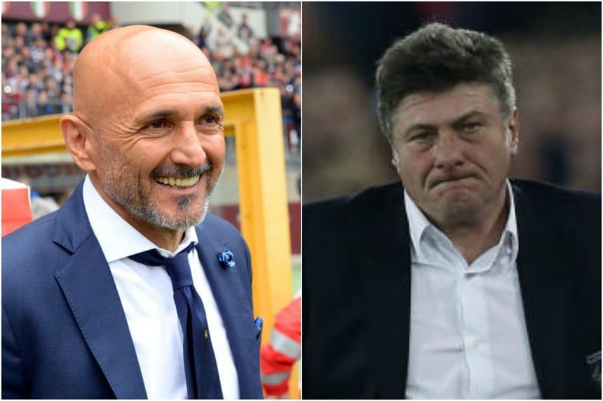 Television cameras showed Inter Milan coach Luciano Spalletti, with a wild expression on his face, gripping his Torino counterpart Walter Mazzarri's hand and refusing to let go at the end of his team's 1-0 defeat by Torino.
