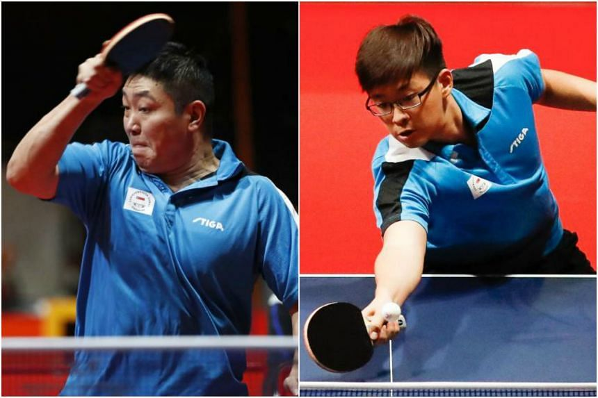 Gao Ning (left) beat Harmeet Desai 11-9, 11-5, 11-8 in the first singles, but India drew level when Sharath Achanta defeated Ethan Poh (right) 11-5, 11-5, 11-4 in the second match.