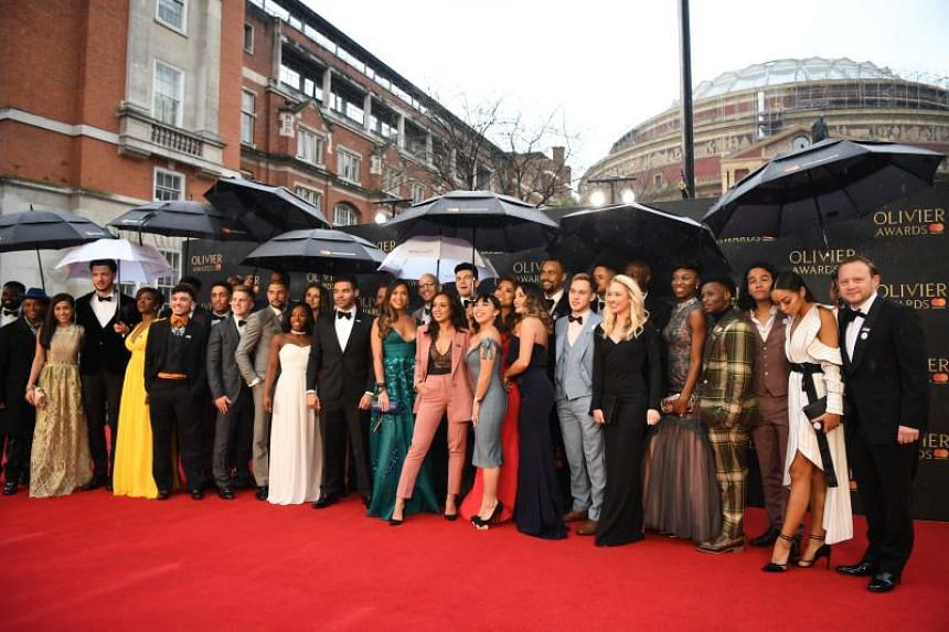 The cast of the musical Hamilton arrives at the Olivier Awards at the Royal Albert Hall in London, Britain on April 8, 2018.