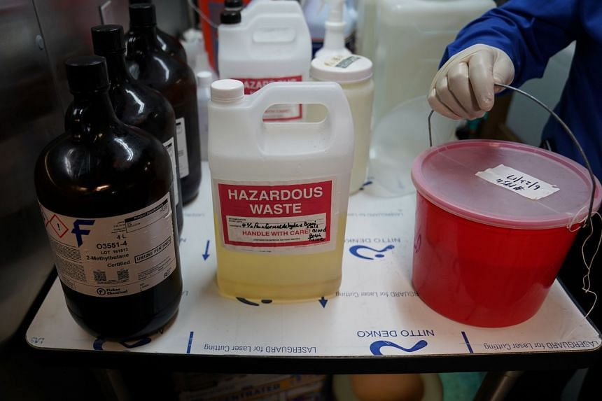 A bucket with a human brain stored in formaldehyde is pictured at a brain bank in the Bronx borough of New York City. Formaldehyde is a toxic substance used in the manufacture of pesticides and paint, among other products.