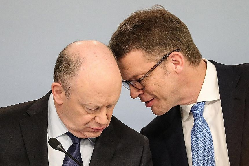 Mr Christian Sewing (far right) was named to succeed Briton John Cryan on Sunday, ending weeks of turmoil at Deutsche Bank.