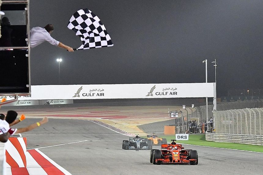 Sebastian Vettel just pipping Mercedes' Valtteri Bottas to the chequered flag in Bahrain. The German now has four wins at the Sakhir desert circuit, more than any other driver, and his victory opened up a 17-point lead over reigning world champion Le