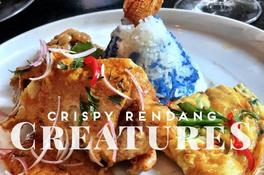 CreatureS shared a photo of its take on the dish on Facebook, served with visibly crispy skin, slathered in rendang sauce, and a side of rice laced with butterfly pea blue flavouring.