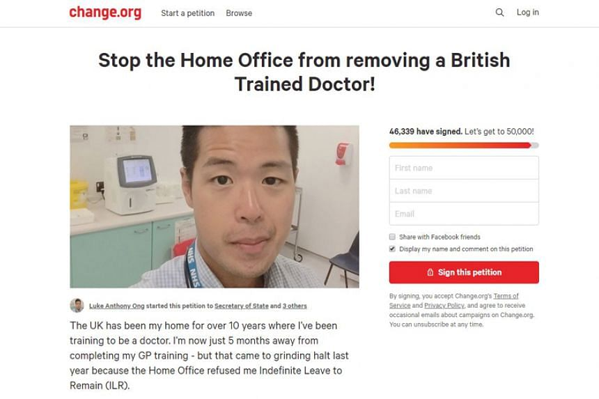 Dr Luke Ong's petition on Change.org against his possible deportation has received over 45,000 signatures.