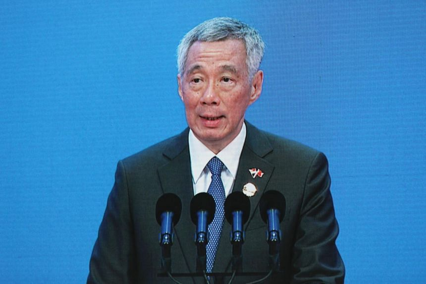 Prime Minister Lee Hsien Loong speaking at the opening plenary session of the Boao Forum for Asia, an annual meeting of top executives and leaders, on April 10, 2018.