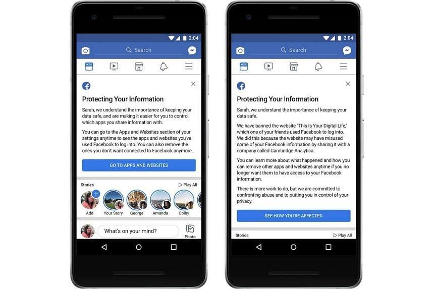 Users with affected accounts will see a notification on the top of their Facebook's News Feed informing them what happened and how they are affected.