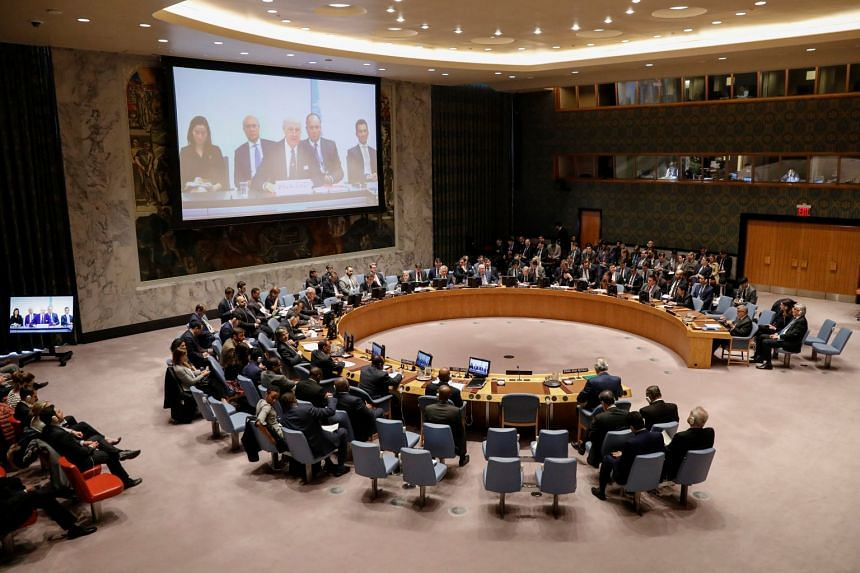The United Nations Security Council meeting on Syria at the UN headquarters in New York, US, on April 9, 2018.