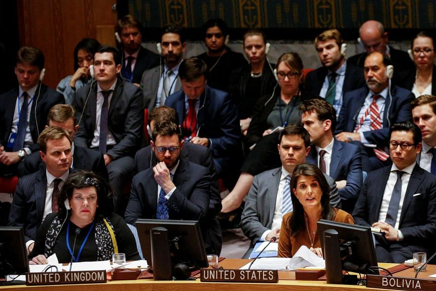 United States Ambassador to the United Nations Nikki Haley addresses the United Nations Security Council meeting on Syria at the UN headquarters in New York, US, on April 9, 2018.
