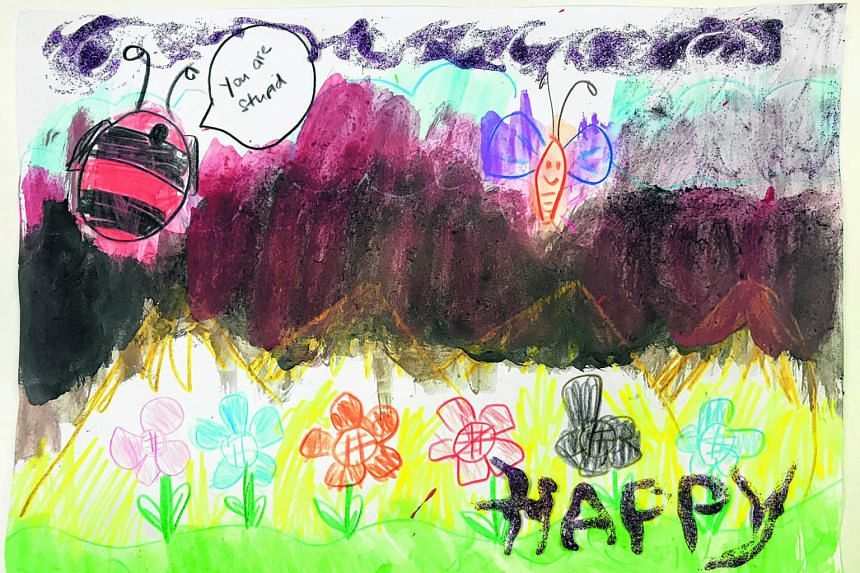 """A copy of the drawing made by a seven-year-old who underwent art therapy at the Institute of Mental Health includes the sentence """"you are stupid"""" written in a speech bubble. The child was struggling to cope with a new stepmother and was doing poorly"""