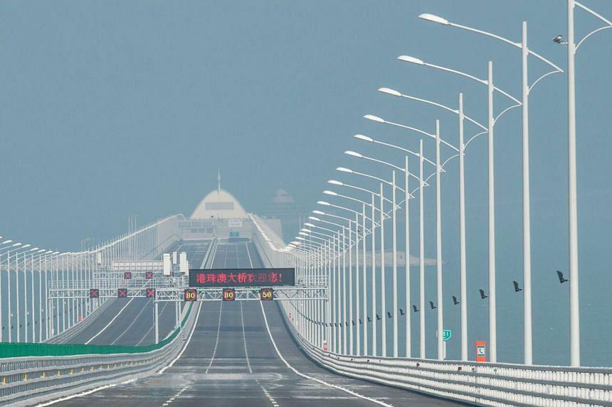 A view of an artificial island along the Hong Kong-Zhuhai-Macau Bridge, on March 28, 2018.