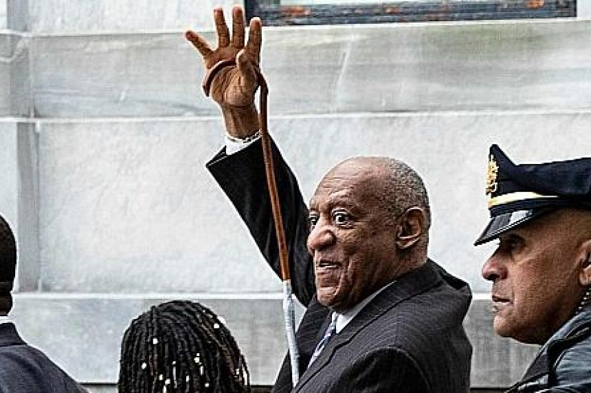 Actor and comedian Bill Cosby leaving the Montgomery County Courthouse in Norristown, Pennsylvania, after the first day of his re-trial.