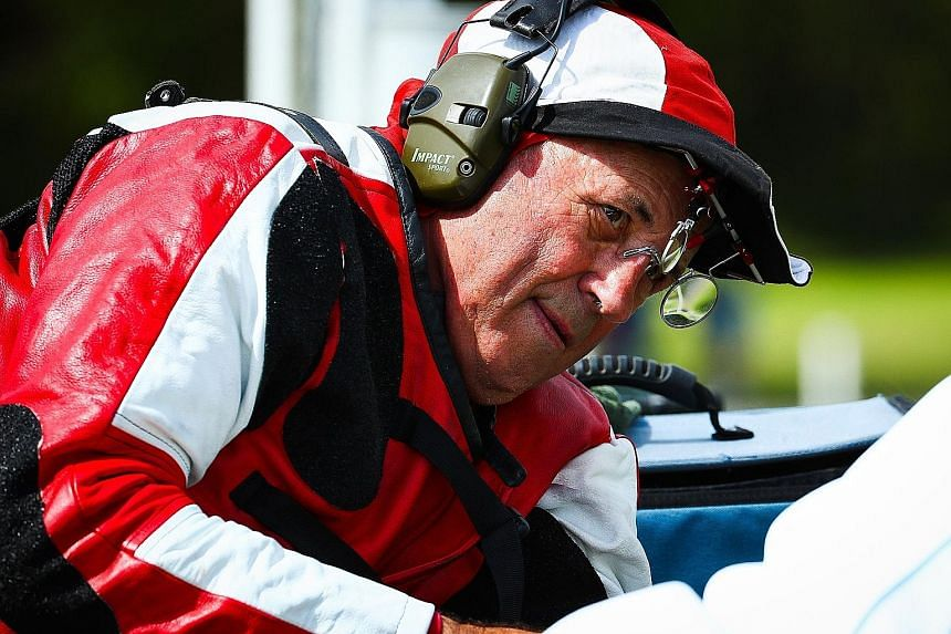 Canada's Robert Pitcairn competing in the Queen's prize pairs shooting final at the Belmont Shooting Complex in Brisbane yesterday.