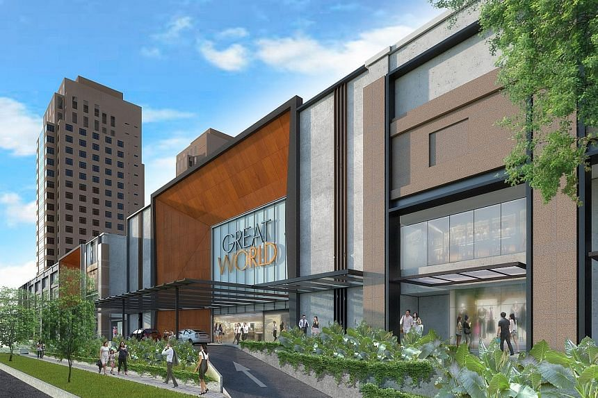 """Artist's impressions of Great World City's new facade (above) and interior (right). The mall will have """"dual-level retail pods"""" in the foyer to house creative retail concepts."""