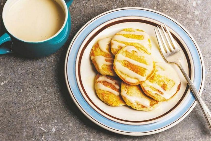 Corncakes With Maple Yogurt Topping.