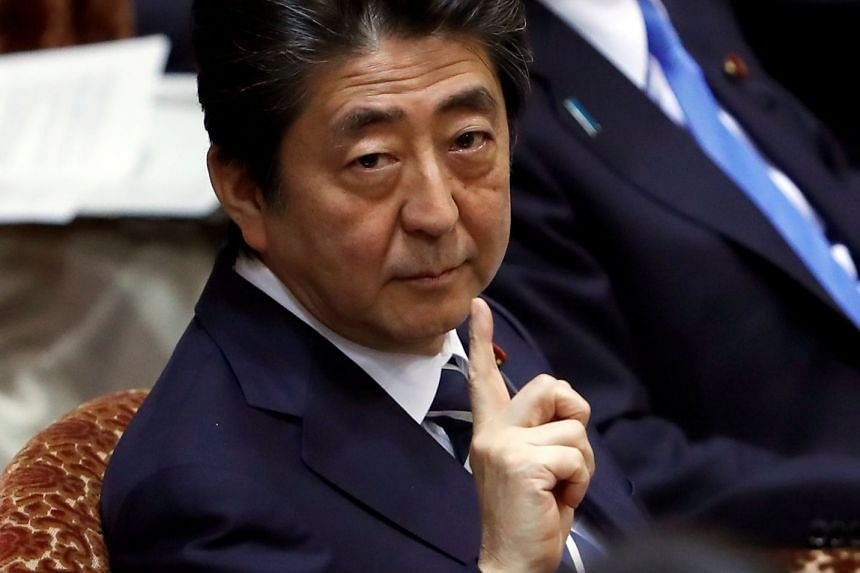 Japan's Prime Minister Shinzo Abe at an upper house parliamentary session in Tokyo, Japan, on March 28, 2018.