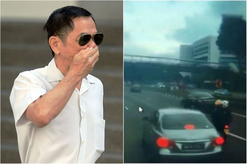 Ho Loong Chan, 65, kept veering close to the bike and applying the brakes to his Toyota Camry intermittently and at one point, even forced the rider onto the road shoulder before getting ahead of him and abruptly slamming his brakes.