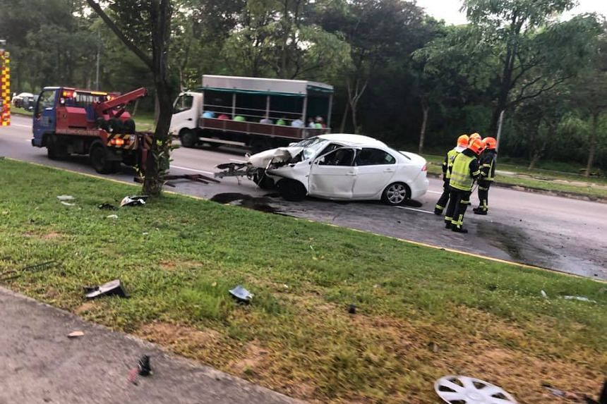 The white car skidded and crashed into a tree in Brickland Road towards Bukit Batok Avenue 5.