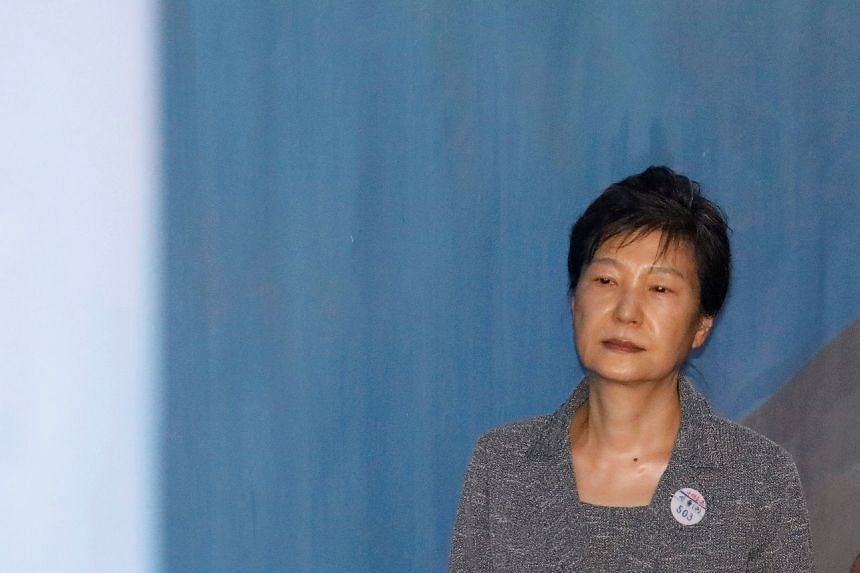 Former South Korean president Park Geun Hye arriving at a court in Seoul on Aug 25, 2017.