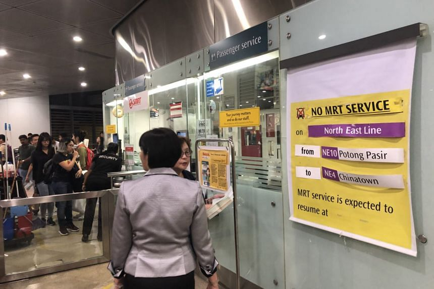 A sign at Serangoon MRT station informing commuters that there is no train service between Potong Pasir to Chinatown.