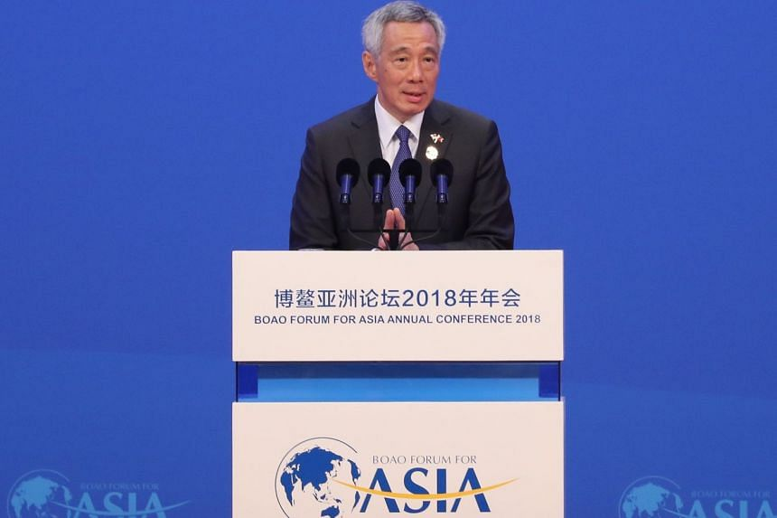 Prime Minister Lee Hsien Loong delivers his speech at the Boao Forum for Asia in Hainan on April 10, 2019.