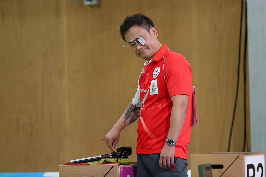 Gai Bin during the men's 10m air pistol finals on April 9, 2018. Lapses in concentration cost Singapore shooters a chance for a Commonwealth Games medal in the men's 50m pistol final on April 11.