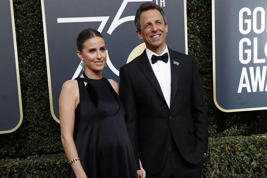 Seth Meyers and wife Alexi at the 75th Golden Globe Awards, on Jan 7, 2018.