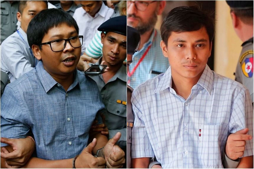 Journalists Wa Lone (left) and Kyaw Soe Oo, were arrested four months ago while reporting on the Rohingya crisis.