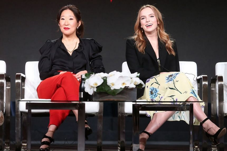 Actresses Sandra Oh and Jodie Comer, stars of Killing Eve, on a publicity drive for the television spy drama earlier this year.