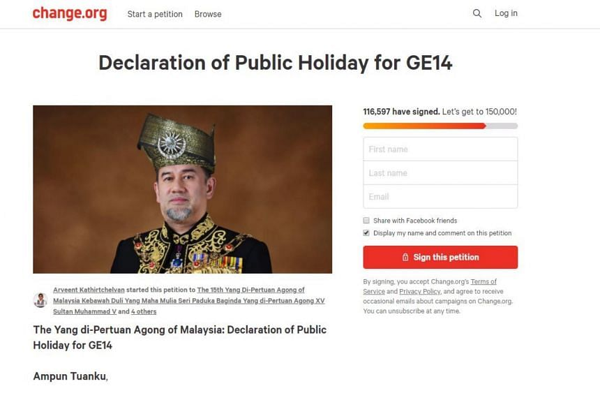 The Change.org petition, titled Declaration of Public Holiday for GE14, was started by one Arveent Srirangan Kathirtchelvan, a university student in Manchester.